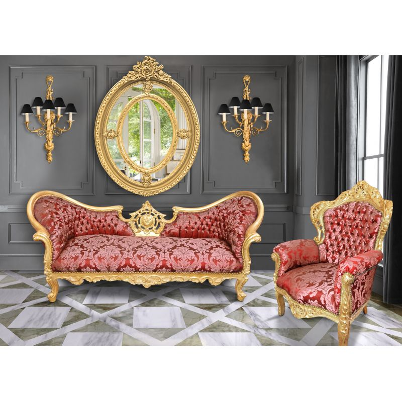 grand miroir baroque ovale dor de style louis xvi. Black Bedroom Furniture Sets. Home Design Ideas