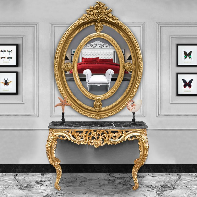 grand miroir baroque ovale dor de style louis xvi. Black Bedroom Furniture Sets. Home Design Ideas