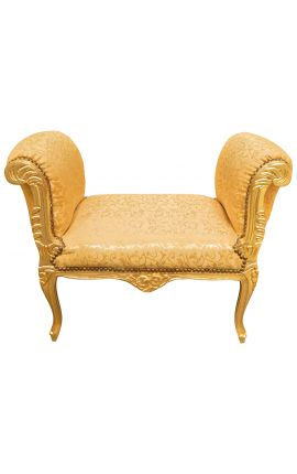 Baroque Louis XV bench gold satin fabric and gold wood
