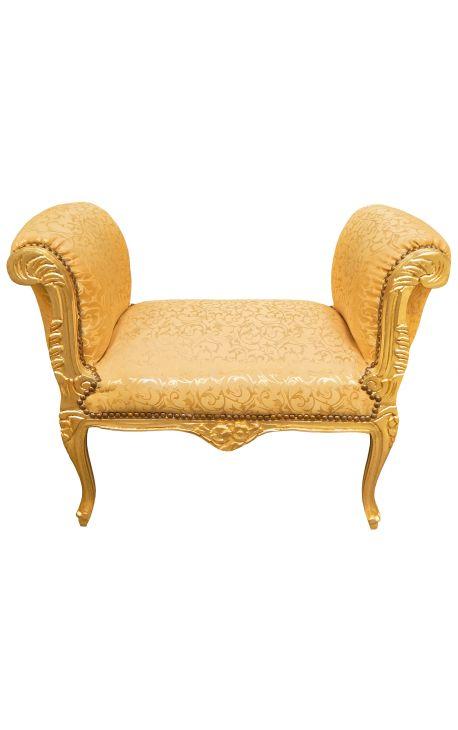 Banquette baroque de style Louis XV tissu satiné doré et bois doré