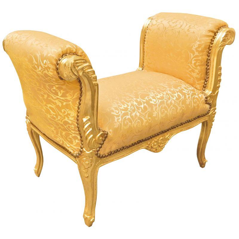 Banquette baroque de style louis xv tissu satin dor et bois dor - Banquette style baroque ...