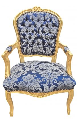 "Baroque armchair of Louis XV style with blue and ""Gobelins"" pattern fabric and gilded wood"