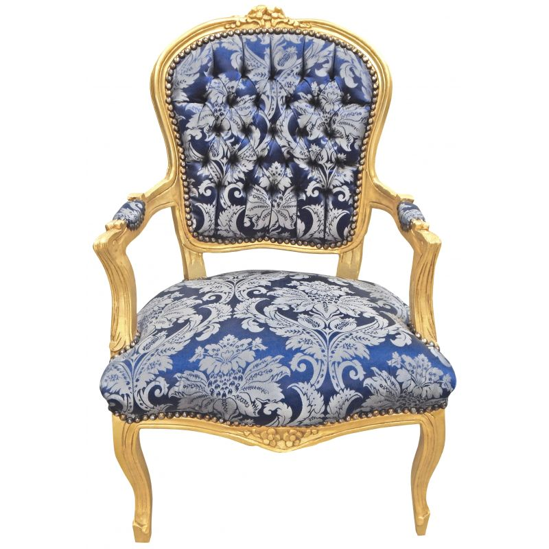 fauteuil baroque louis xv satin bleu motifs gobelins et bois dor. Black Bedroom Furniture Sets. Home Design Ideas