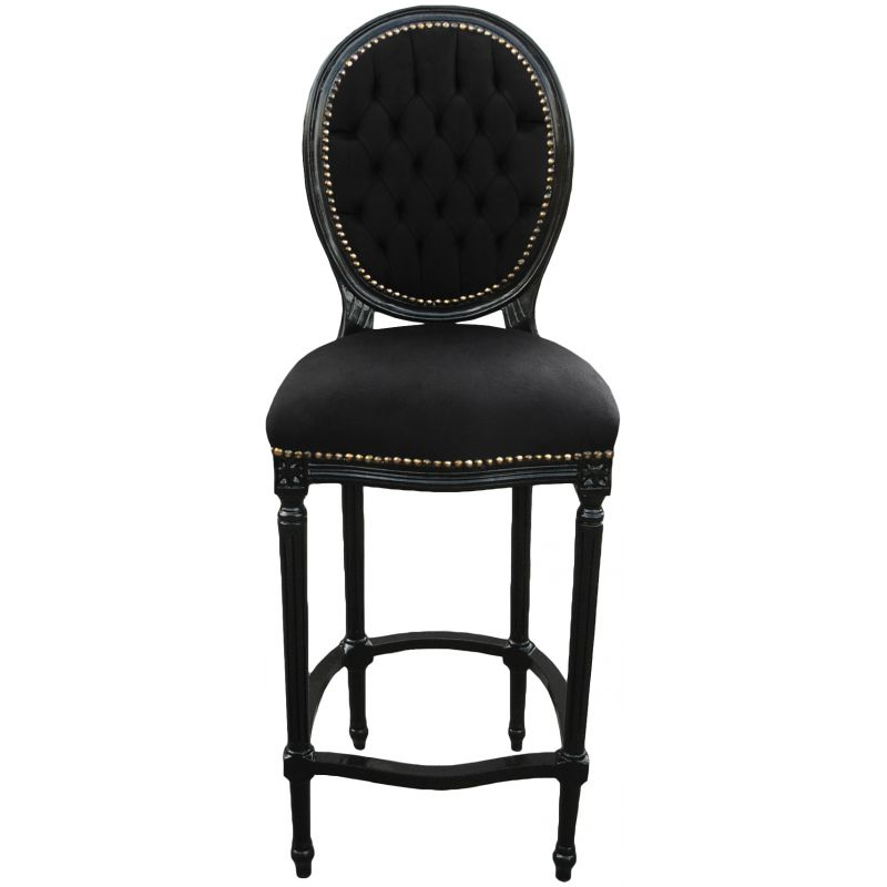 chaise de bar de style louis xvi avec tissu velours noir et bois noir. Black Bedroom Furniture Sets. Home Design Ideas