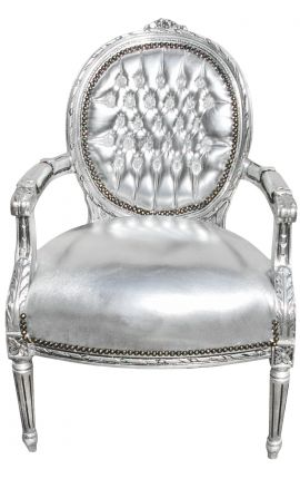 Baroque armchair Louis XVI style medallion in false silver skin leather and silvered wood.