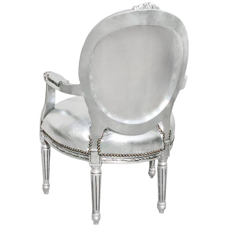fauteuil baroque de style louis xvi simili cuir argent et. Black Bedroom Furniture Sets. Home Design Ideas