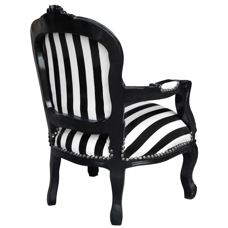 Baroque armchair for child striped black and white with ...