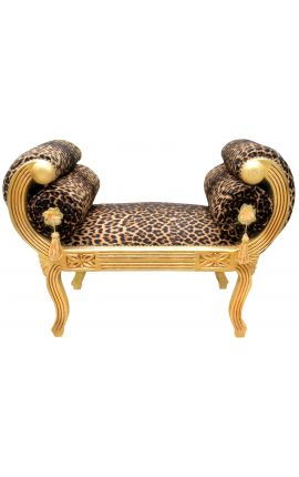 Roman bench leopard fabric and gold wood