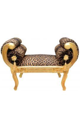 Banquette Romaine tissu léopard et bois doré