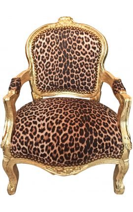 Baroque armchair for child leopard fabric and gold wood