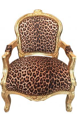 Fauteuil baroque enfant leopard et bois doré