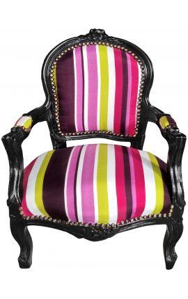 барокко кресло для ребенка ткани разноцветными полосами с черного дерева