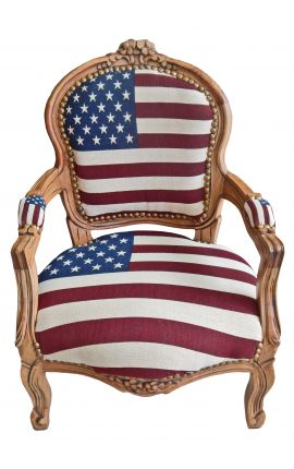 Baroque armchair for child Louis XV style american flag and natural wood