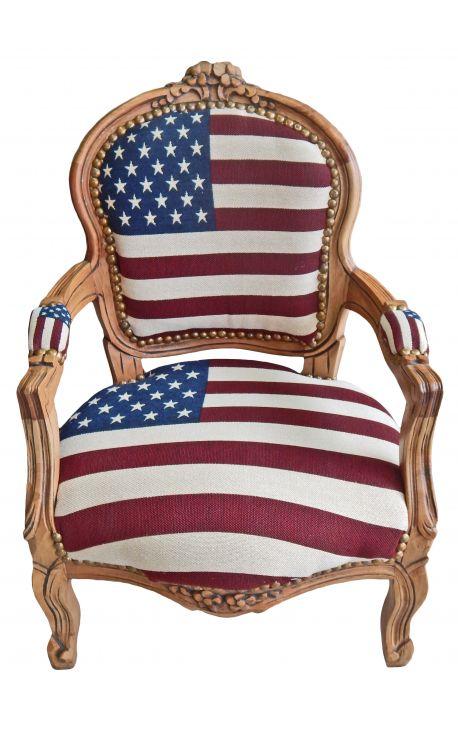 Fauteuil baroque enfant drapeau américain et bois naturel