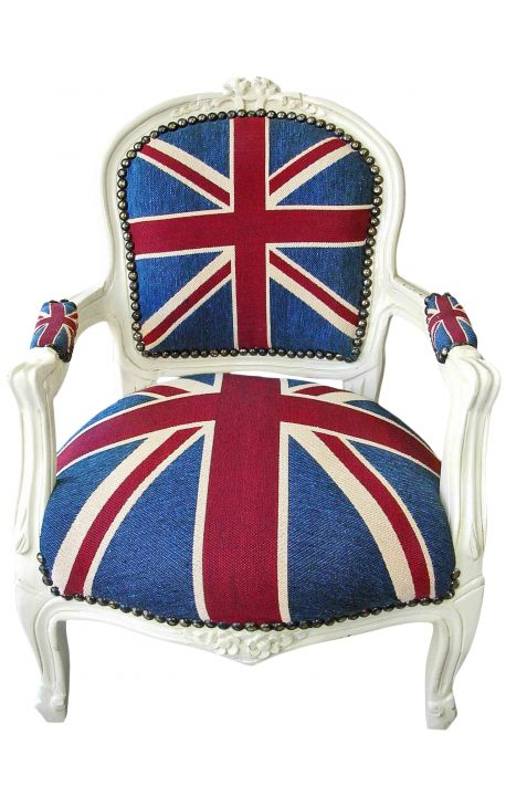 "Baroque armchair for child Louis XV style ""Union Jack"" and beige lacquered wood"