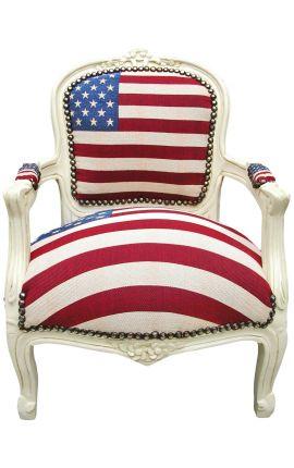 Fauteuil baroque enfant drapeau américain et bois laqué beige