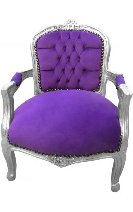 Baroque armchair for child purple velvet and silver wood