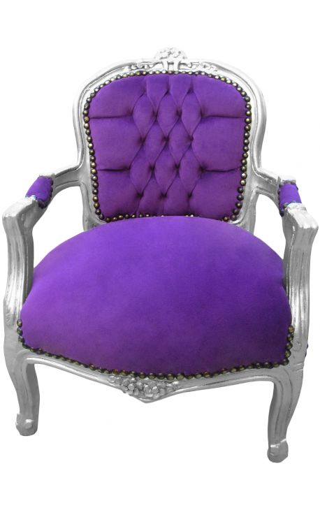 Armchair for child purple velvet and silver wood