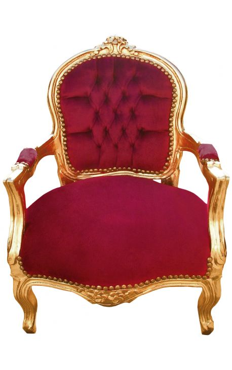 Baroque armchair for child burgundy red velvet and gold wood