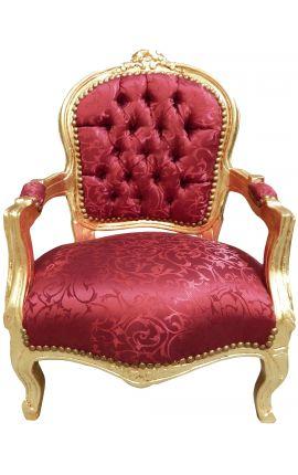 Fauteuil baroque enfant satiné rouge et bois doré