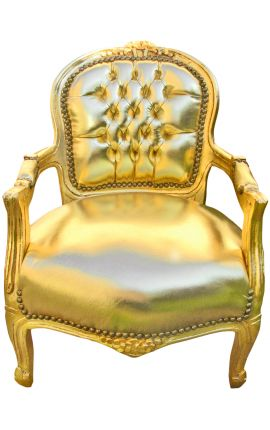 Baroque armchair for child gold false skin leather and gold wood