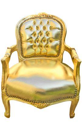 Fauteuil baroque enfant simili cuir doré et bois doré