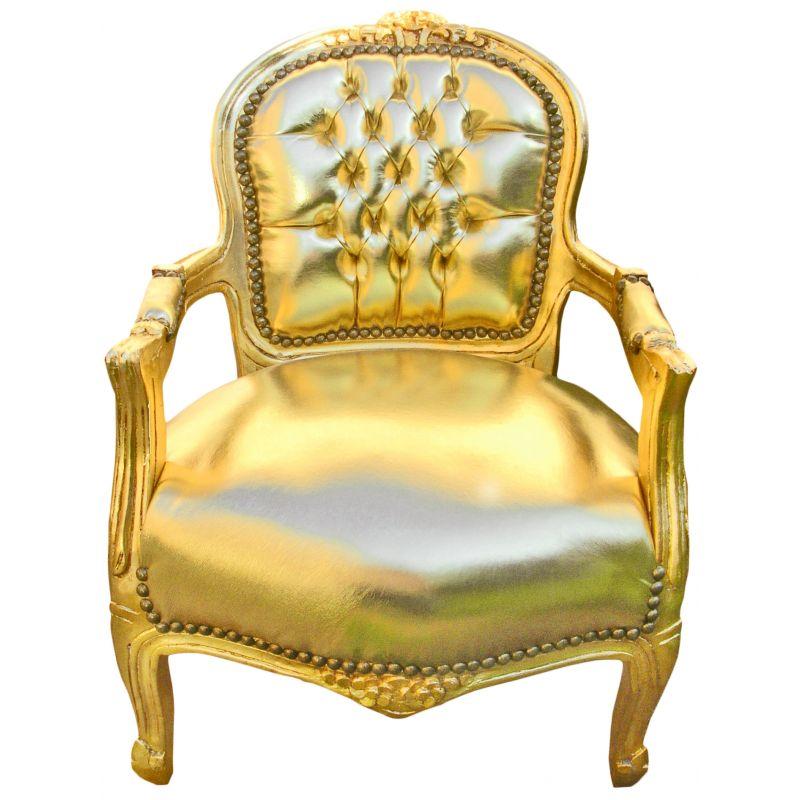 fauteuil baroque enfant simili cuir dor et bois dor. Black Bedroom Furniture Sets. Home Design Ideas