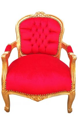 Baroque armchair for child red velvet and gold wood