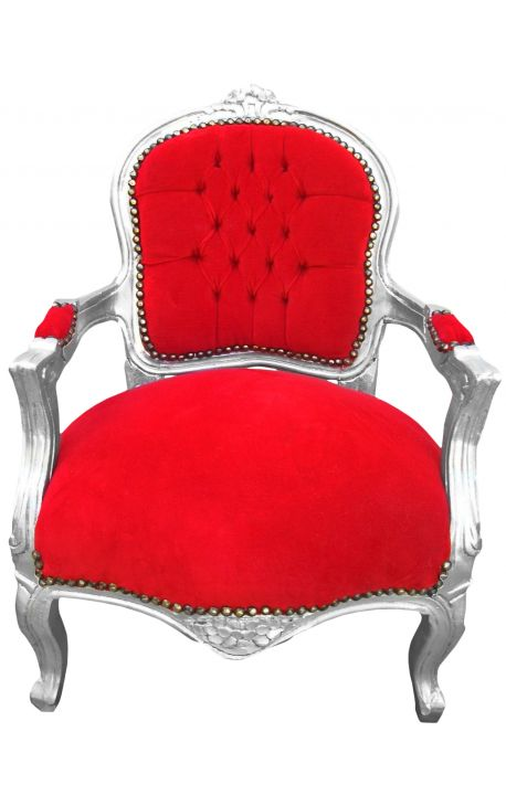 Baroque armchair for child red velvet and silver wood