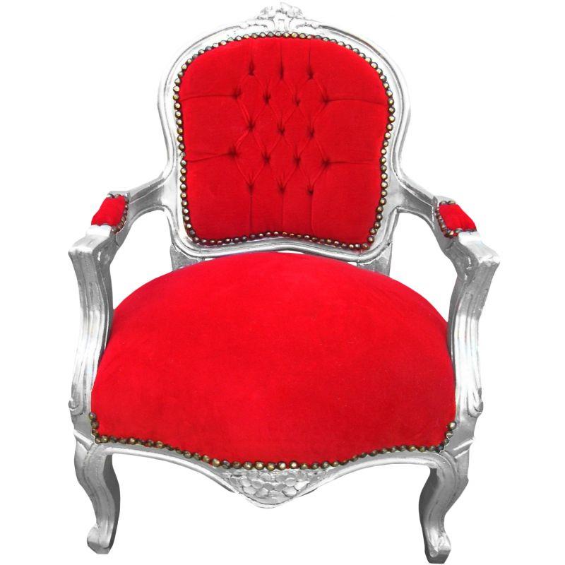 fauteuil baroque enfant velours rouge et bois argent. Black Bedroom Furniture Sets. Home Design Ideas