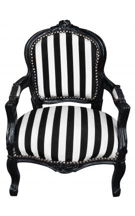Baroque armchair for child fabric striped black and white with black lacquered wood