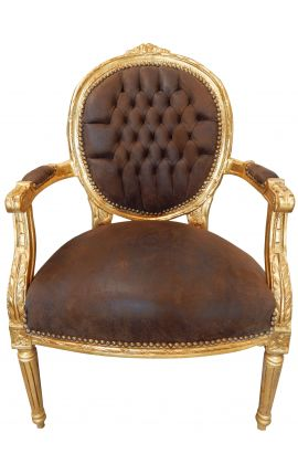 Baroque armchair Louis XVI style chocolate false suede fabric and gold wood