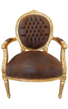 Fauteuil Louis XVI de style baroque chocolat et bois doré