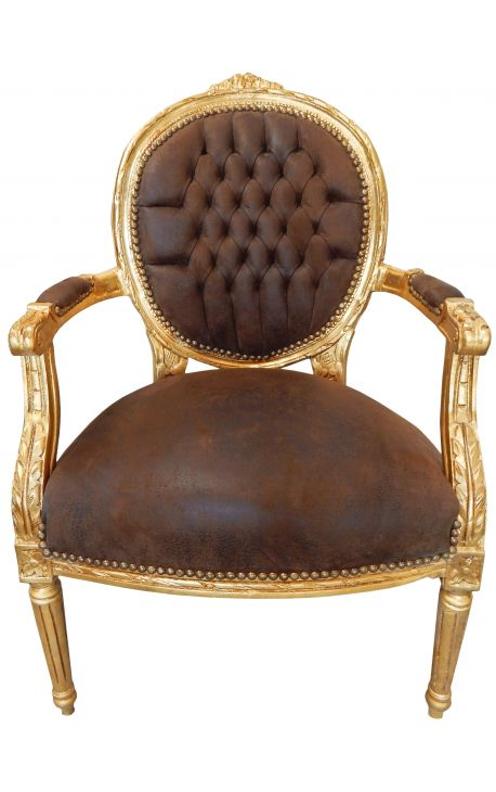Baroque armchair Louis XVI style medallion chocolate and gold wood