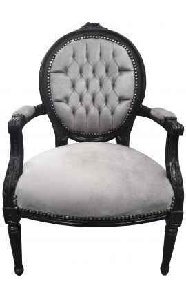Baroque armchair Louis XVI style grey velvet and black matt wood