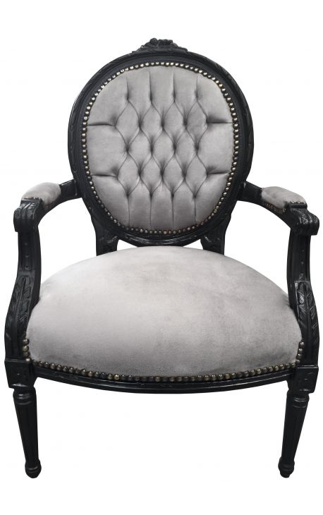 Baroque armchair Louis XVI style medallion grey texture and black painted wood