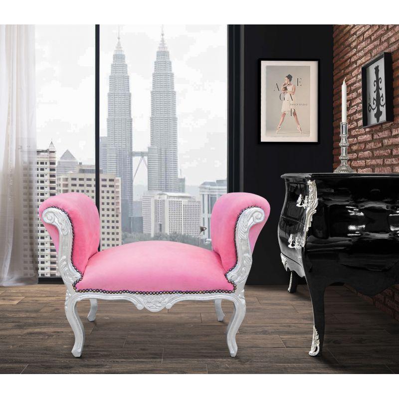 banquette baroque de style louis xv tissu rose et bois argent. Black Bedroom Furniture Sets. Home Design Ideas