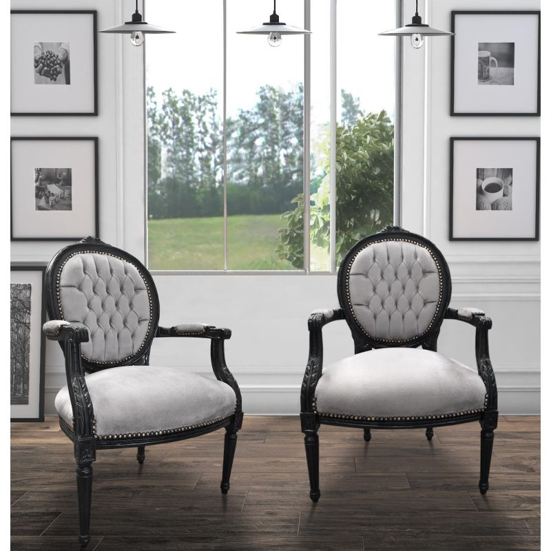 fauteuil baroque de style louis xvi tissu gris et bois noir. Black Bedroom Furniture Sets. Home Design Ideas