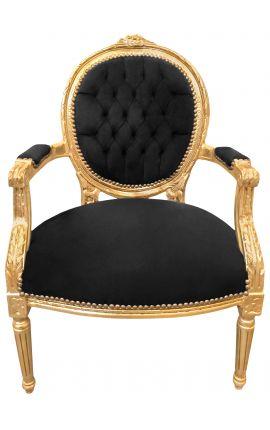 Fauteuil Louis XVI de style baroque velours noir et bois doré
