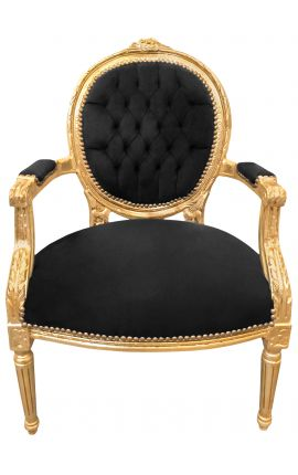 Baroque armchair Louis XVI style black velvet and gilded wood