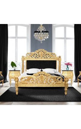 Baroque bed black velvet fabric and gold wood