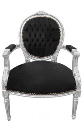 Baroque armchair Louis XVI style black velvet and silvered wood