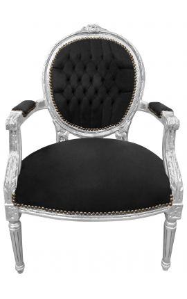 Fauteuil Louis XVI de style baroque velours noir et bois argenté