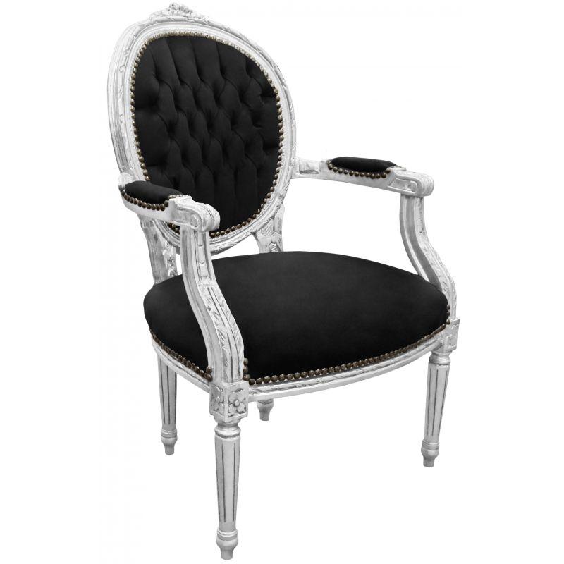 fauteuil baroque de style louis xvi velours noir et bois argent. Black Bedroom Furniture Sets. Home Design Ideas