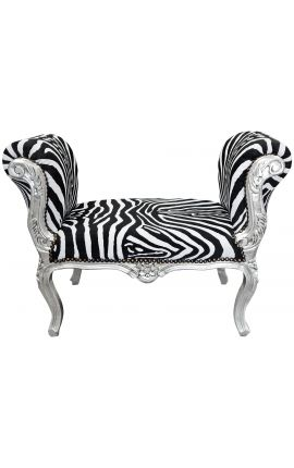 Baroque Louis XV bench zebra velvet fabric and silver wood