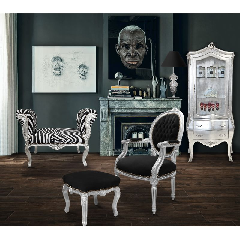 banquette baroque de style louis xv tissu z bre et bois argent. Black Bedroom Furniture Sets. Home Design Ideas