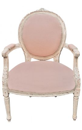 Louis XVI style armchair beige linen and beige patinated wood