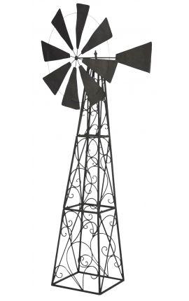 Grande girouette Eolienne pour jardin en fer forgé