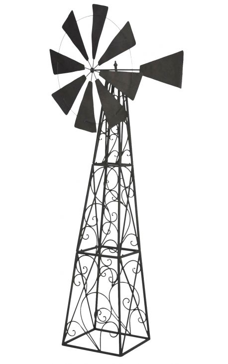 Large wind turbine vane for garden wrought iron