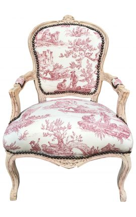 [Limited Edition] Armchair of Louis XV style toile de Jouy and beige wood patinated